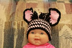 pink and black zebra infant beanie