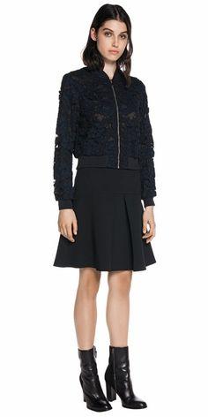 Jackets | Textured Lace Bomber Jacket