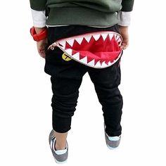 Amison Spezial Kinder Jungen Mädchen Reißverschluss Haifisch-Zähne Harem Pants Hose (2-3 Jahr, Schwarz)