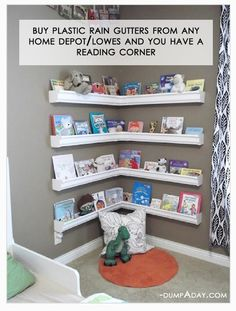 Easy cheap DIY reading bookshelf area