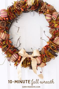 10- minute fall wreath | simplykierste.com  So easy!  You just attach a pre-made garland to a grapevine wreath.