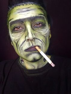 Frankenstein makeup Halloween face paint dude guy man (but actually a female)