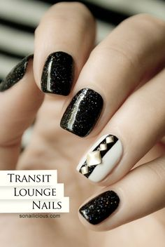 A simple black and white nails look created for our trip to Abu Dhabi. I couldn't help but try the new Ulta3 Triple Threat shade, a beautiful black holo...