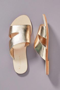 Anthropologie Monica Slide Sandals by in Gold Size: Gold Sandals, Strappy Sandals, Gladiator Sandals, Sport Sandals, Slide Sandals, Dansko Shoes, Shoes Heels, Open Toe Shoes