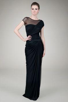 Mesh Cap Sleeve Draped Evening Gown in Black - Evening Gowns - Evening Shop | Tadashi Shoji