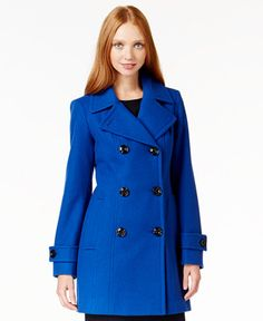 Anne Klein Double-Breasted Long Peacoat