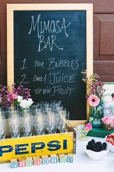 Mimosa Bar! Such a great idea for a baby shower or bridal shower or just a girls day! {The Effortless Chic}