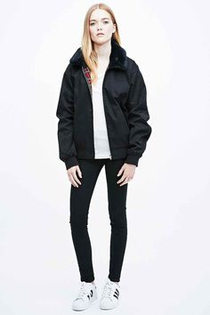 Urban Renewal Vintage Surplus Faux Fur Collar Harrington Jacket in Black - Urban Outfitters