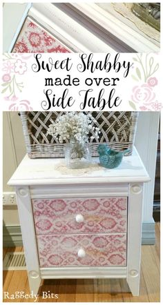 After finding a side table at a local garage sale for $5, I wanted to share how to give any piece of furniture you may find a sweet shabby made over side table new look | www.raggedy-bits.com