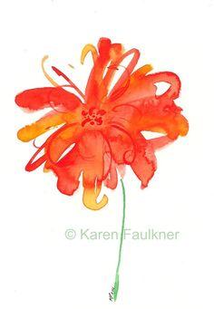 Watercolor flower notecards set of four by KarenFaulknerStudio