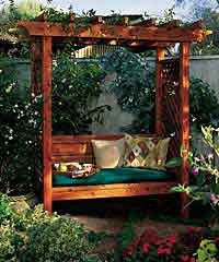 Arbor with built-in bench