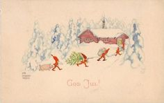 """Sweet Christmas illustration""  Aina Stenberg a.k.a Aina Stenberg MasOlle (1885-1975) was a Swedish artist. In Sweden her advent calendars were also very popular. Elves (Tomte), fairies, and other folklore are popular subjects within her art."