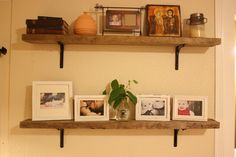black metal shelf brackets at Home Depot for $5 each, the wood was free and voila!