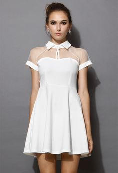 Mesh Peak Collar Skater Dress in White - Retro White and Nude Collection - Dress - Retro, Indie and Unique Fashion
