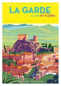 Vintage Travel Poster - La Garde - La Cité de Rocher - Provence, Côte d'Azur.