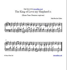 """The King of Love my Shepherd Is"" is a hymn based on the 23rd Psalm. It is sung or played at various church services including funerals - download piano/organ sheet music, midi or mp3 files."