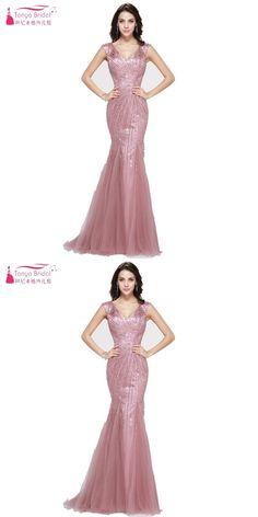 123948aedcb Dusty Pink V Neck Heavy Beads Mermaid Formal Evening Dress Custom made China