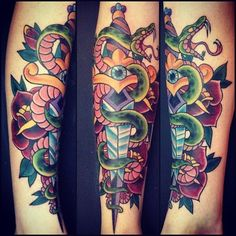 Romeo Lacoste - snake and dagger - arm tattoo