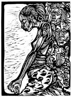 Faith, a linocut - woodcut by New Orleans artist Steve Prince