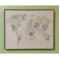 Custom watercolor floral world map by TheCreativeTypes on Etsy