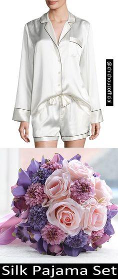 Long-sleeved Shirt and Shorts Set For Women White Silk Sleepwear, Sleepwear Sets, Silk Pajamas, Sleepwear Women, Silk Nightgown, Le Diner, Mulberry Silk, Ladies Dress Design, Night Gown