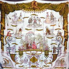 """Foulard carré de soie Hermès """" Comédie Italienne"""" coloris kaki, par  Philippe Ledoux, 78b4bdff3b7"""