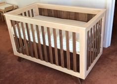 Maple and walnut crib - build video in the comments Rustic Baby Cribs, Wooden Baby Crib, Baby Crib Diy, Wooden Cribs, Small Woodworking Projects, Woodworking Furniture, Woodworking Plans, Custom Woodworking, Walnut Furniture