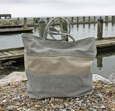 Stonewashed Canvas Tote, Purse, Bag - Misty Gray with Neutral Stripe (Horizontal) - Beachy, Nautical Army Tent, Lighted Canvas, Brown Leather Totes, Neutral Colour Palette, Tote Purse, Pouch, Reusable Tote Bags, Buy And Sell, Purses