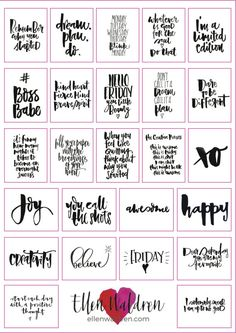 Inspirational quotes planner stickers hand lettered inspiring journal stickers calligraphy planner stickers chic and monochrome from ellenwaldren on etsy studio Planner Stickers, Journal Stickers, Printable Planner, Printable Wall Art, Free Printables, Free Printable Quotes, Monthly Planner, Planner Dividers, Goals Planner