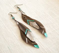 Boho Wedding Jewelry // Hand Painted Feather Earrings // Silver & Teal // Bohemian, Country Chic