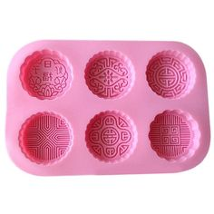 6 Cavities Silicone Delicate Decorative Pattern Mooncake Mold Cake Mold