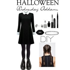 DIY Halloween Costume ~ Wednesday Addams by tenleyhoot on Polyvore featuring mode, Stuart Weitzman, Kasun, NARS Cosmetics, Lime Crime, Givenchy, halloweencostume and DIYHalloween