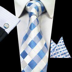 Mens 3-Piece 100% Silk Jacquard Neck Tie Sets