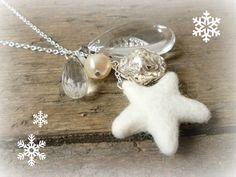Cream pendant necklace handmade silver beaded by reccabella