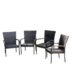 4 Piece Stackable Wicker Dining Chairs   Brown