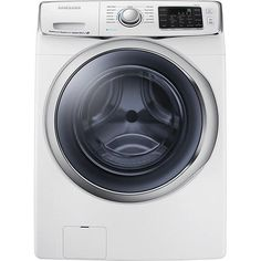 Samsung - 4.5 Cu. Ft. 13-Cycle High-Efficiency Steam Front-Loading Washer - White - Larger Front, yay my new WASHER