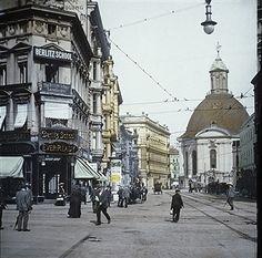 Berlin ca.1910 Leipzigerstrasse,Mauerstrasse (im Hintergrund die Dreifaltigkeitskirche)
