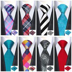 2015 top 40 silk tie men necktie wedding casual tie hanky cufflinks set wedding