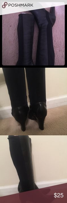 Genuine leather liz claiborne boots Great preowned leather boots with 4inch heel. Stretchy back . Liz Claiborne Shoes Heeled Boots