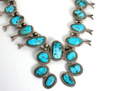 Squash Blossom Necklace Native American Turquoise Necklace ITEM FC622A