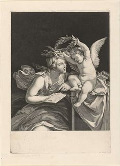 """magictransistor: """"Theodor Matham, Allegorical Figure of Painting Wreathed by Cupid, Holland, c. Old Master, Cupid, Occult, Art Inspo, Printmaking, Book Art, Fairy Tales, Fine Art, Drawings"""