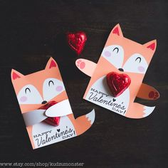 Woodland Fox Classroom Candy Holder valentines cute animals hug individual candy valentine card fox Valentine's day chocolate holders by KudzuMonster on Etsy https://www.etsy.com/listing/220802411/woodland-fox-classroom-candy-holder
