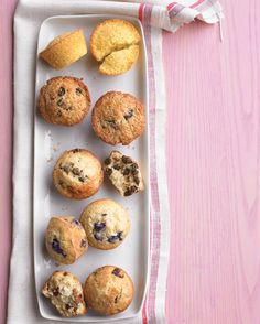 Better than basic muffins. One basic batter lets you choose your own breakfast adventure. Are you in the mood for blueberry, chocolate chip, bran-raisin, cherry-pecan, or corn muffins? Breakfast Items, Breakfast Recipes, Dessert Recipes, Desserts, Breakfast Club, Dessert Ideas, Peach Muffins, Corn Muffins, Raisin Muffins
