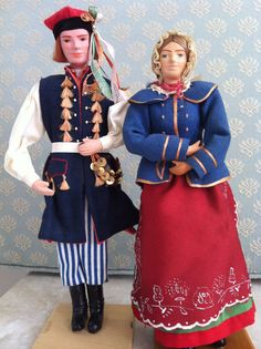 Polish Dancing Man; Polish Woman with coral beads ~ Collection of Rebekah Myers Dunford