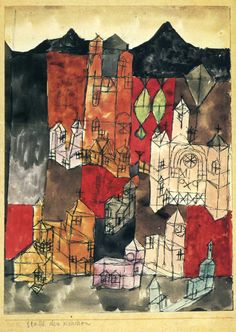 """City of Churches,"" 1918, Paul Klee. Pencil, pen, watercolor on paper; 15.4 x 21 cm. Private Collection."