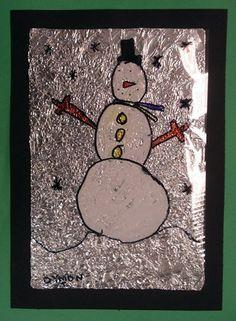 carte bonhomme de neige et alu