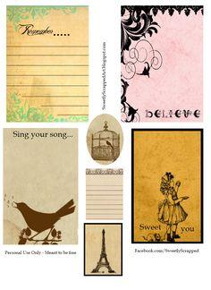 Vintage inspired printable journaling cards