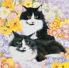 Cat art, Christmas cat art, teddy bear art by renowned award-winning painter and illustrator Anne Mortimer, now available for licensing by Porterfield's Fine Art Licensing. Frida Art, Spring Painting, Bear Art, Cat Drawing, Pretty Cats, Christmas Cats, Pet Gifts, Pet Portraits, Cats And Kittens