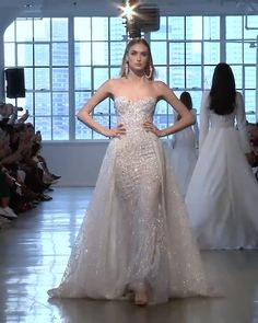 Berta Style Spring Summer 2020 Bridal Couture Collection Stunning Embroidered Silver Strapless Sweetheart Sheath Wedding Dress / Bridal Gown with a Skirt and a Train. Spring Summer 2020 Bridal Couture Collection (NYBFW) by Berta dresses 2020 Ivory Lace Wedding Dress, Luxury Wedding Dress, Sexy Wedding Dresses, Bridal Dresses, Wedding Gowns, Sweetheart Wedding Dress, Lace Weddings, Silver Weddings, Beautiful Dresses