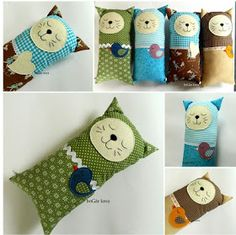 coxíns gato-cat cushion boGár krea: Nálatok laknak-e állatok? Fabric Toys, Felt Fabric, Fabric Crafts, Sewing Toys, Sewing Crafts, Sewing Projects, Cute Pillows, Kids Pillows, Plush Pattern